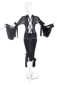 Yves Saint Laurent by Tom Ford Black Chiffon Tie Blouse and Black Velvet Crop Pants