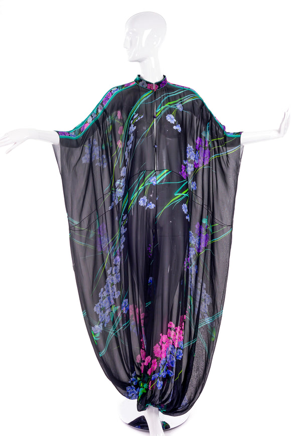 Leonard Black Chiffon Caftan Jumpsuit with Signature Flower Print