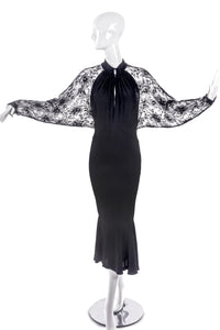 Ted Lapidus Black Crepe Satin and Chantilly Lace Paris Couture Dress