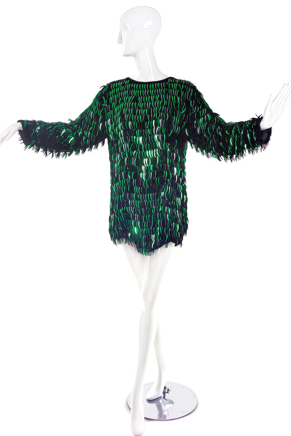 Vintage Emerald Metallic Paillette Embellished Mini Dress / Top