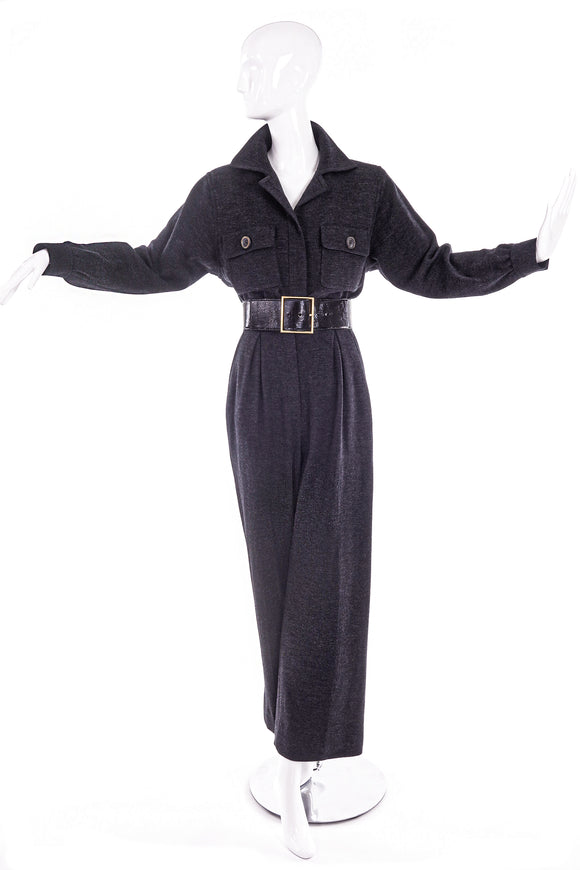 Yves Saint Laurent Rive Gauche Grey Flannel Wool Jumpsuit 80's