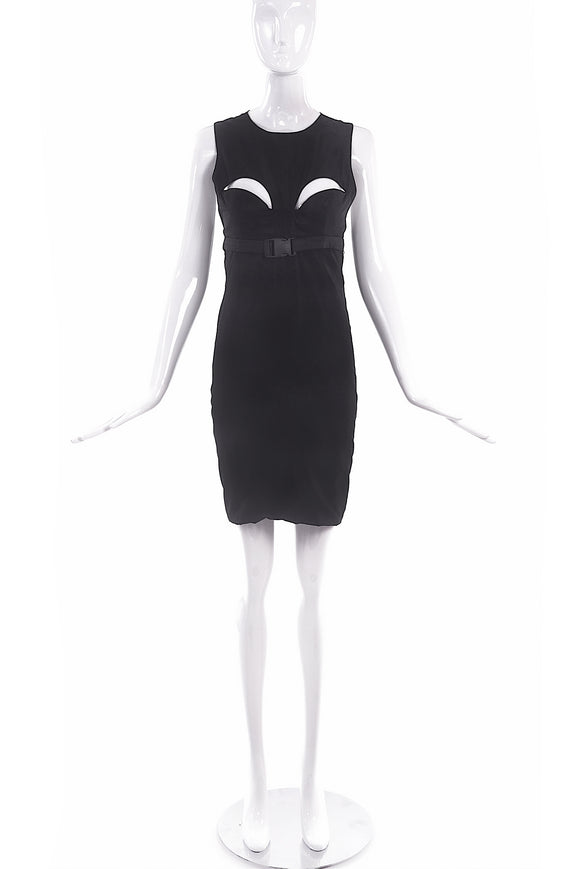 Marius Schwab Black Nylon Cut Out Dress