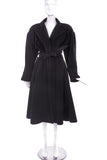 Thierry Mugler Black Extreme Shoulder / Tight Waist Hooded Wool Coat - BOUTIQUE PURCHASE PRICE