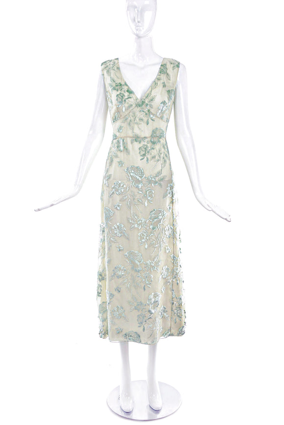 Rochas Velvet Burn Out Iridescent Flower Dress