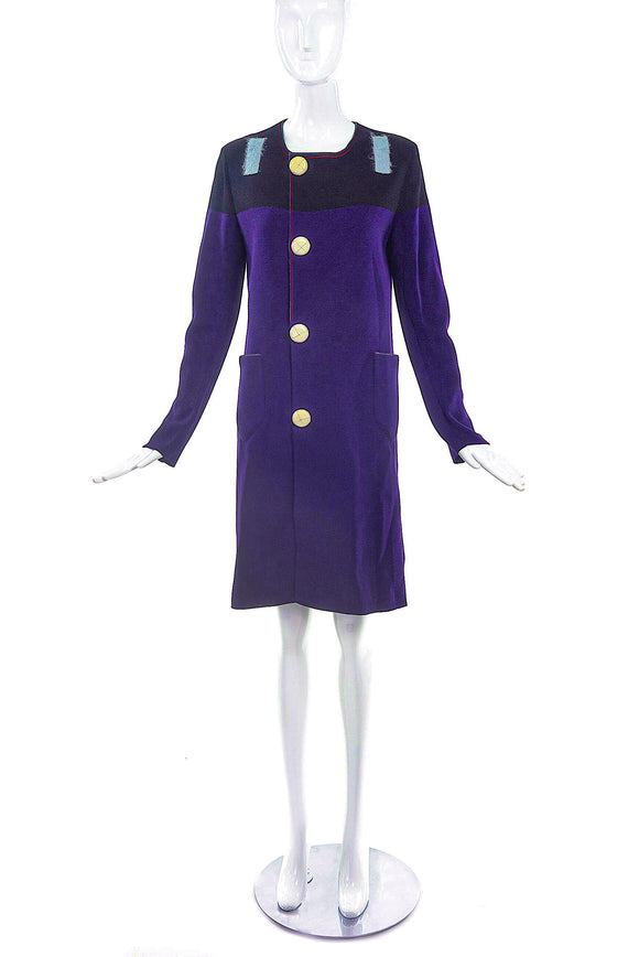 Sonia Rykiel Purple Knit Mod Shift Coat - BOUTIQUE PURCHASE PRICE