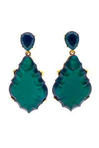 Oscar de la Renta Emerald Large Art Deco Teardrop Earring