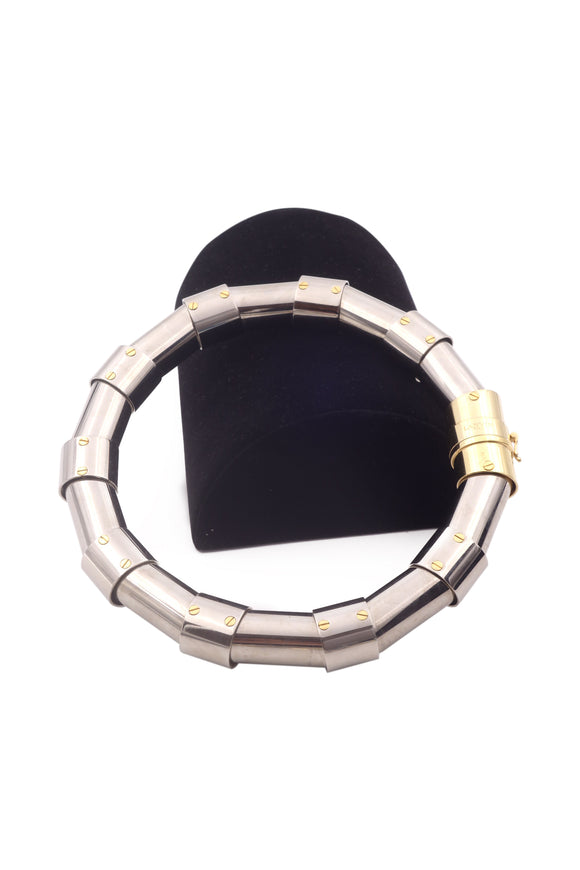 Lanvin Silver Riveted Tubes Choker Necklace