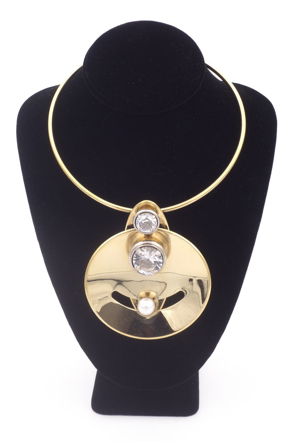 Lanvin Geometric Gold Disc with Pearl and Diamond Necklace