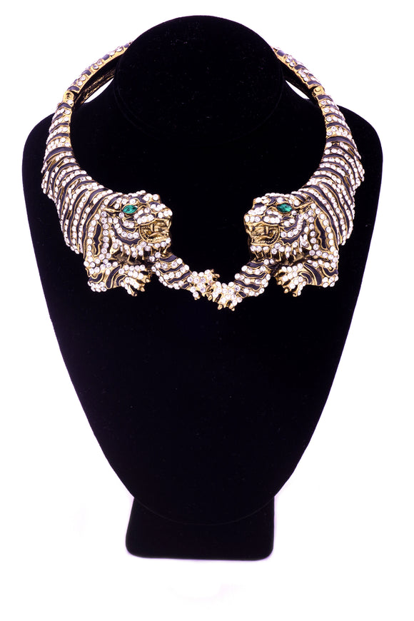 Roberto Cavalli Double Tiger Statement Choker Necklace SS2013