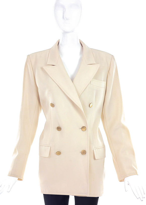 Saint Laurent Rive Gauche Creme Double Breasted Blazer with Gold Buttons