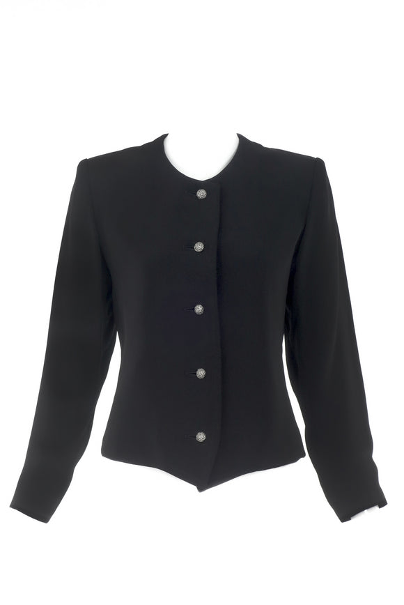 Saint Laurent Rive Gauche Black Bar Jacket with Silver Rose Buttons - BOUTIQUE PURCHASE PRICE