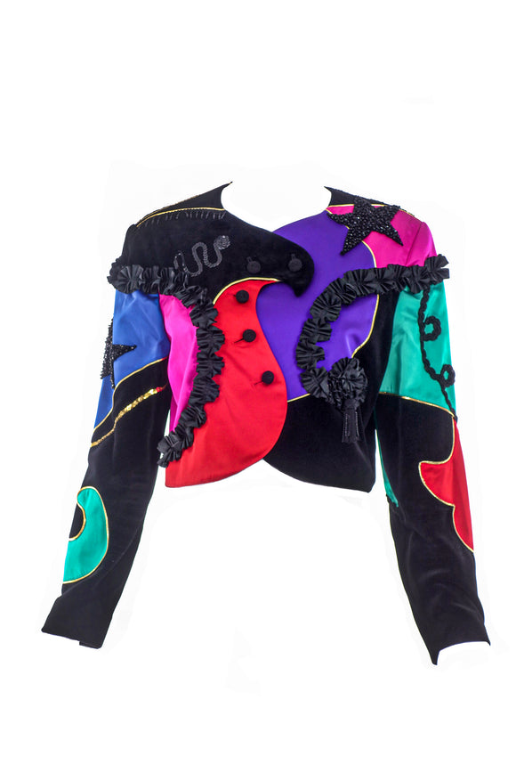 Louis Féraud Multi Color Patchwork Jacket with Star Beading