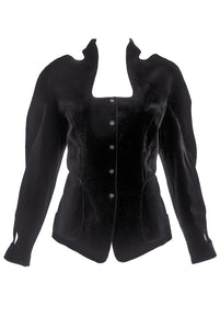 Thierry Mugler Black Velvet Fitted Jacket with Cut Outs - BOUTIQUE PURCHASE PRICE