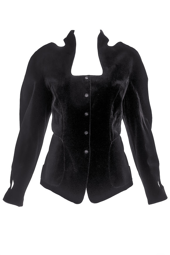 Thierry Mugler Black Velvet Fitted Jacket with Cut Outs