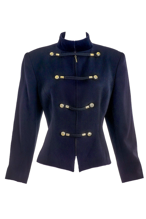 Claude Montana Black Military Jacket with Rope Trim and Gold Buttons