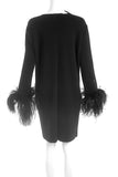 Lanvin Black Wool Dress with Feather Sleeve Cuffs and a Fabric Flower Broach