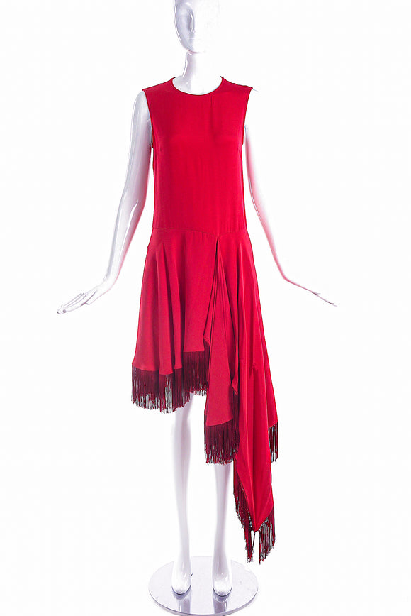 Calvin Klein 205W39NYC by Raf Simons Red Asymmetrical Dress with Fringe Detail - BOUTIQUE PURCHASE PRICE