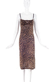 Dolce & Gabbana Leopard Print Chiffon Long Slip Dress with build in Tiger Bra.