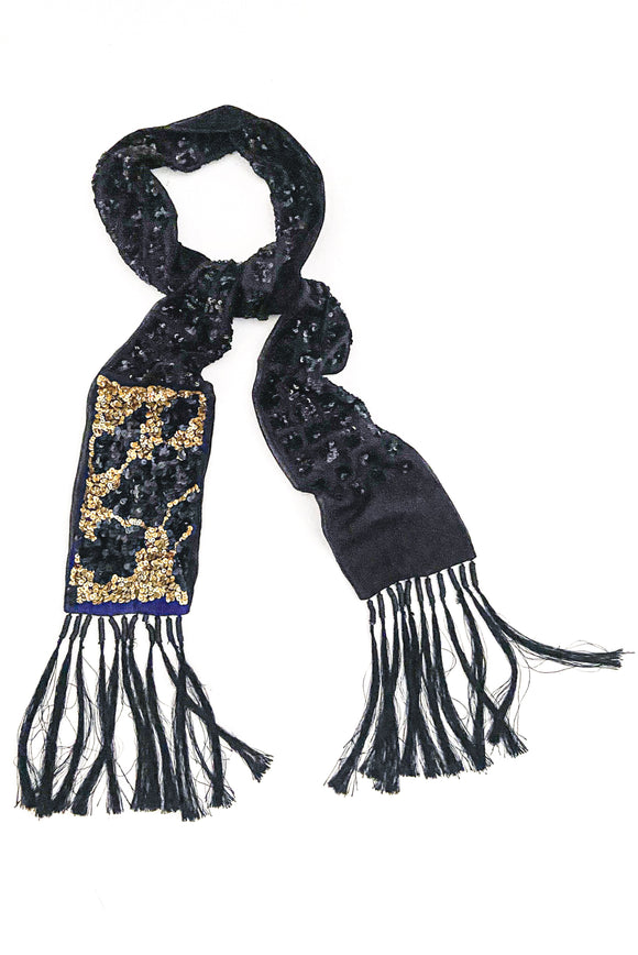 Dries Van Noten Black Evening Scarf with Sequin Details