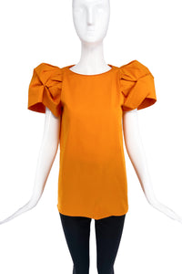 Dsquared2 Orange T-Shirt with Exaggerated Pouf Sleeves SS2017