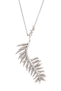 Eddie Borgo Silver and Crystal Leaf Necklace