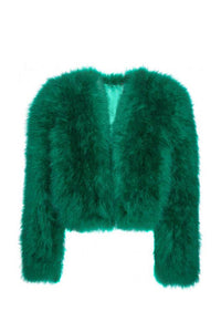 "Vintage Emerald Marabou Feather ""Jane Forth"" Crop Jacket"