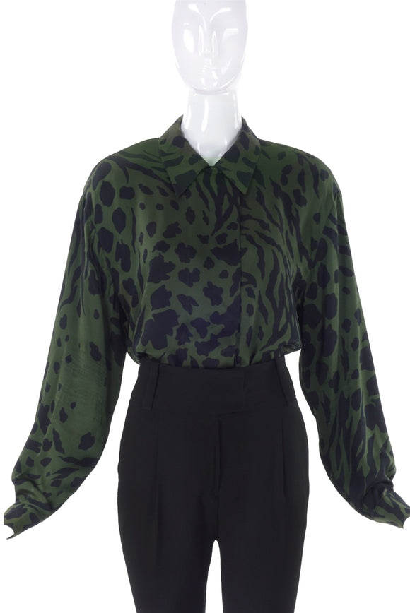 Escada Forest Green Silk Blouse with Black Animal Prints - BOUTIQUE PURCHASE PRICE