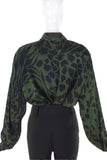 Escada Forest Green Silk Blouse with Black Animal Prints