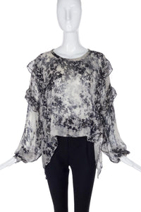 Faith Connection Black and White Chiffon Blouse with Lurex Detail