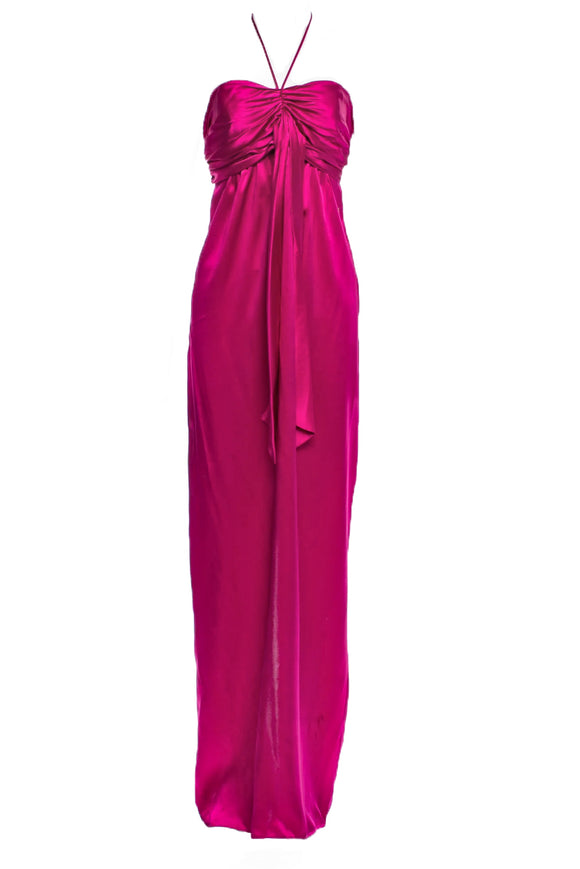 John Galliano Fuchsia Silk Gown