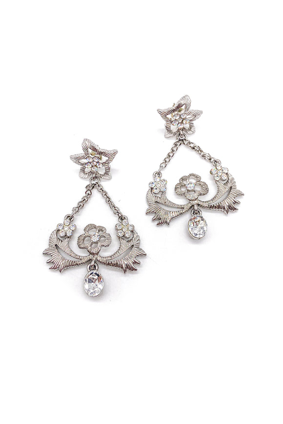 Givenchy Silver Floral Trapeze Earrings with Crystals
