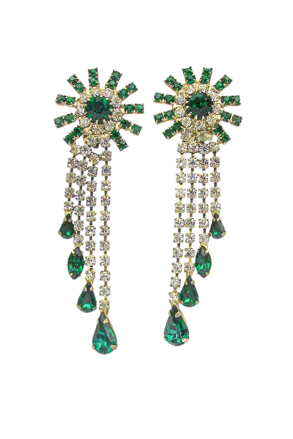 Vintage Emerald and Diamond Cascading Rhinestone Crystal Earrings