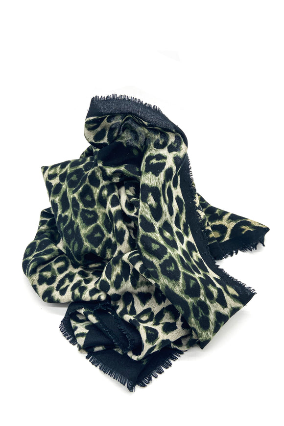 Leopard Print Scarves - Military Green, Brown and Blue&Gray&Black