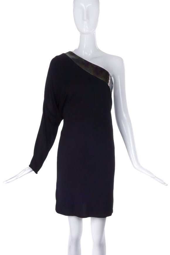 Patent Leather Gucci Asymmetric One Sleeve Black Dress from Fall / Winter 2009