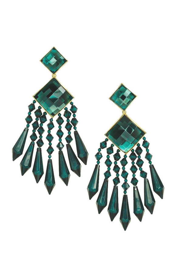 Balmain Emerald Crystal Chandelier Earrings