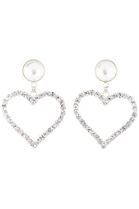 Alessandra Rich Oversized Heart Shaped Rhinestone Pearl Earrings