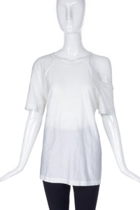 Helmut Lang White T-Shirt with a Shoulder Cut-Out