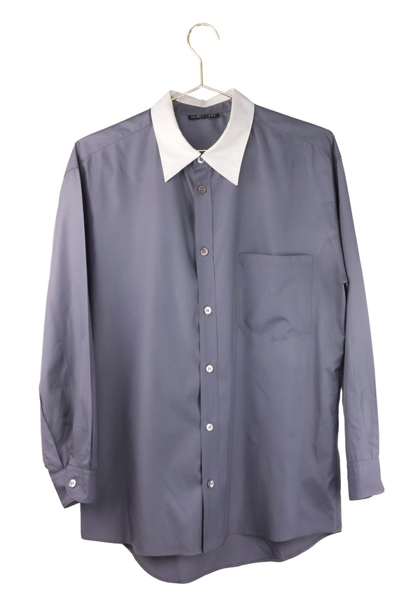Helmut Lang Gray Nylon Silk Shirt with White Collar 1990's minimalism xxx