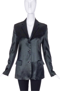 Helmut Lang Black Textured Satin Fitted Blazer