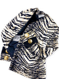 Istante by Gianni Versace Zebra Print Gold Collarless Jacket - BOUTIQUE PURCHASE PRICE
