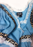 D&G by Dolce & Gabbana Blue Chiffon Baby Doll Top with Leopard Print Details
