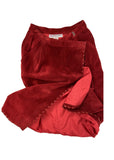 Saint Laurent Rive Gauche Red Suede Wrap Skirt with Leather Whip Stitching - BOUTIQUE PURCHASE PRICING