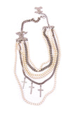 Fausto Puglisi Pearl and Chain Diamanté Cross Necklace