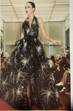 "Halston Black Chiffon Beaded ""Firework"" Gown FW1980"