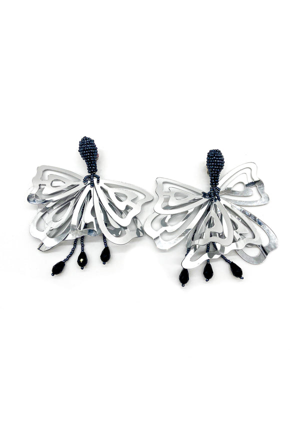 Silver Butterfly Black Beaded Earrings