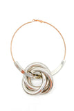 Statement Metallic Hoop Earring with Silver Coiled Ring Detail.