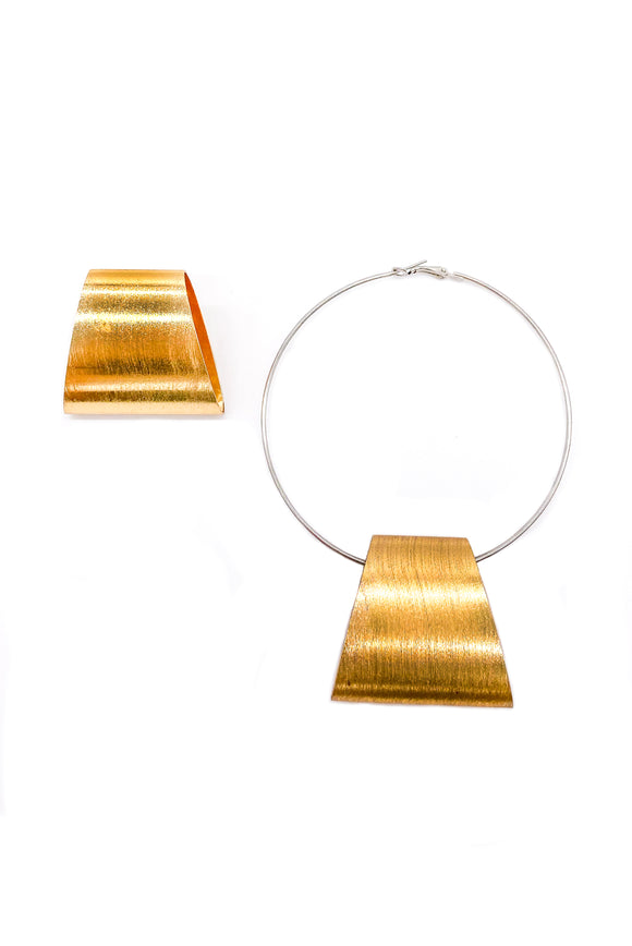 Statement Hoop Earring Set with Gold Trapezoid Detail