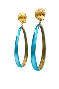 Alexis Bittar Blue Resin Teardrop Shaped Hoop Earrings