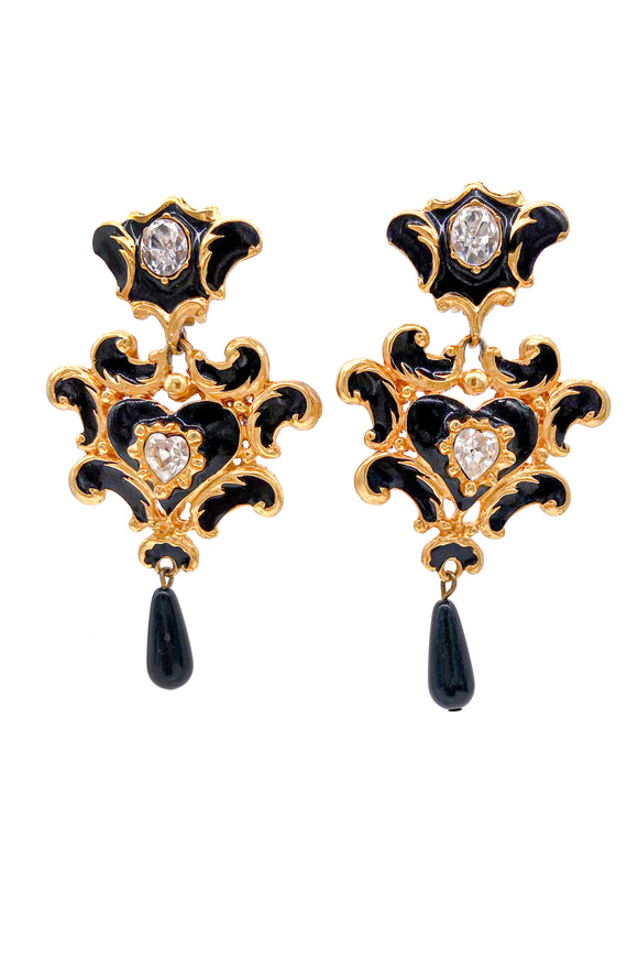 Christian Lacroix Gold Baroque Black Enamel and Diamond Earrings