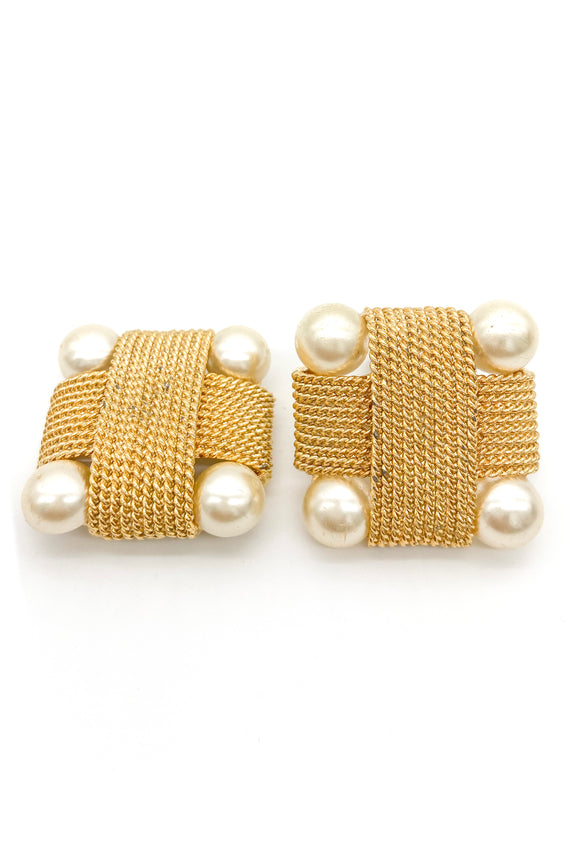 Valentino Gold and Pearl Costume Earrings - BOUTIQUE PURCHASE PRICE